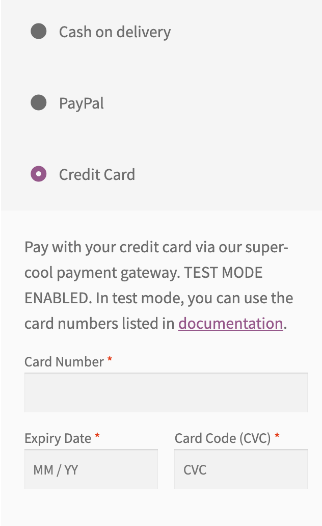 WooCommerce form to process card data.
