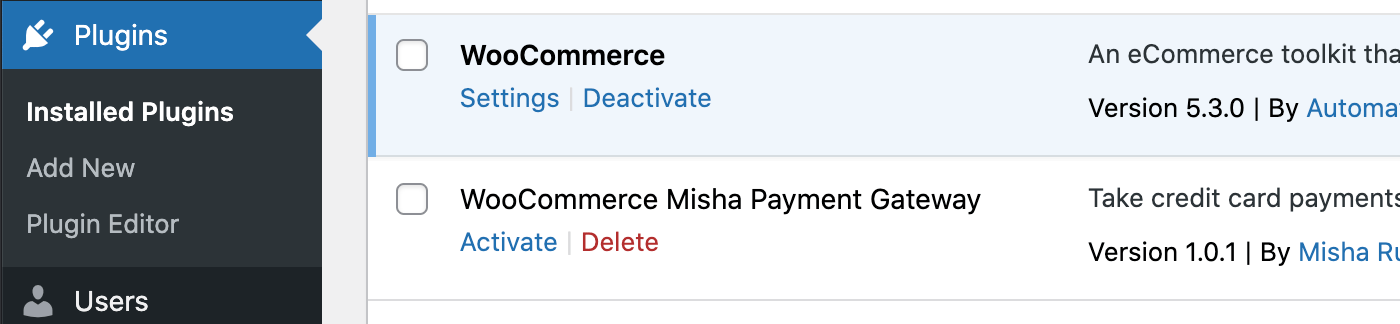 Custom payment gateway plugin for WooCommerce.