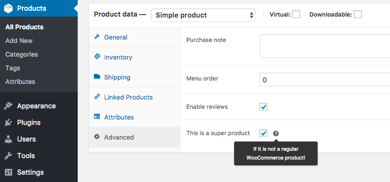 WooCommerce custom product option under the advanced tab.