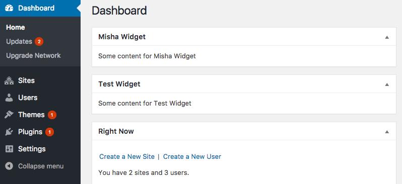 Some custom widgets we created for WordPress Network Dashboard.