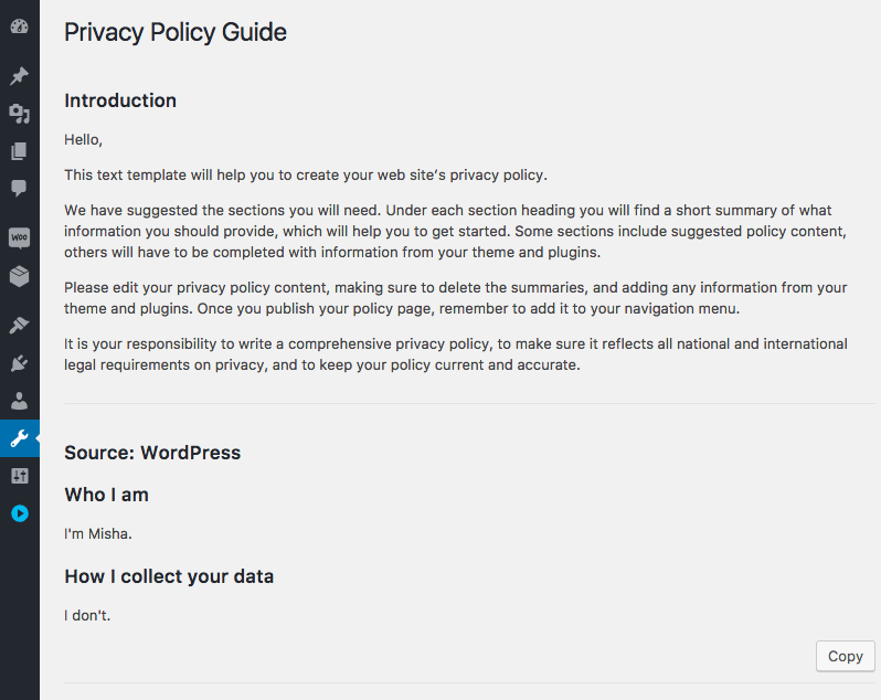 We can change the WordPress Privacy Policy Guide default content with the filter hook.