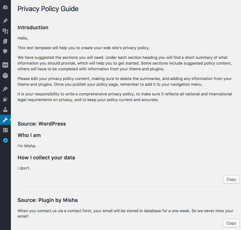 A custom section in WordPress Privacy Policy Guide