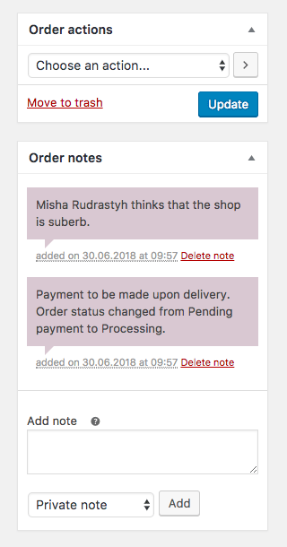WooCommerce customer order notes