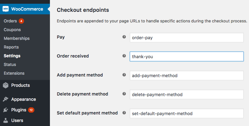 Checkout endpoints in WooCommerce advanced settings