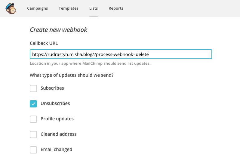 Configure unsubscribe event for a MailChimp webhook