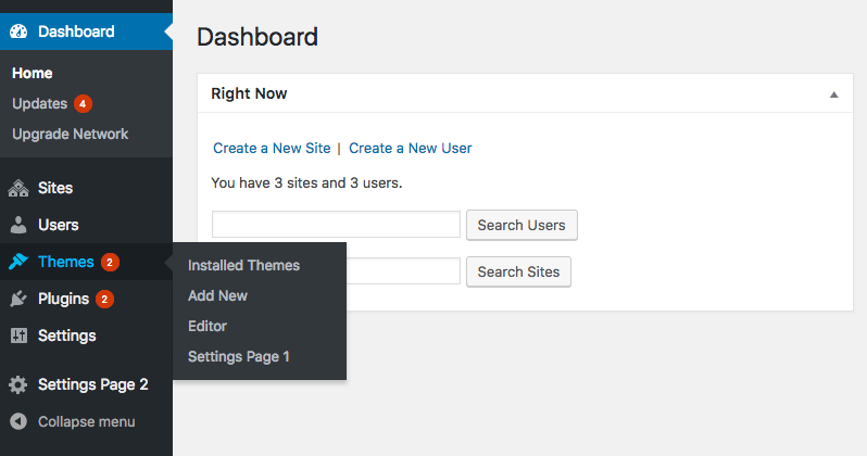 Custom settings pages in Network Dashboard menu
