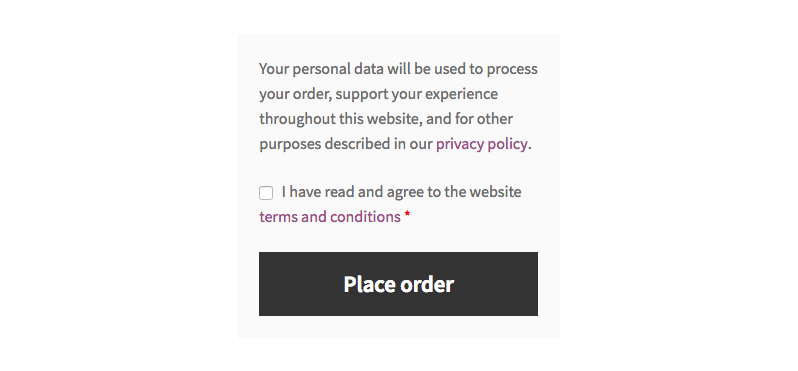 Change Terms and Conditions and Privacy Policy text on WooCommerce checkout page