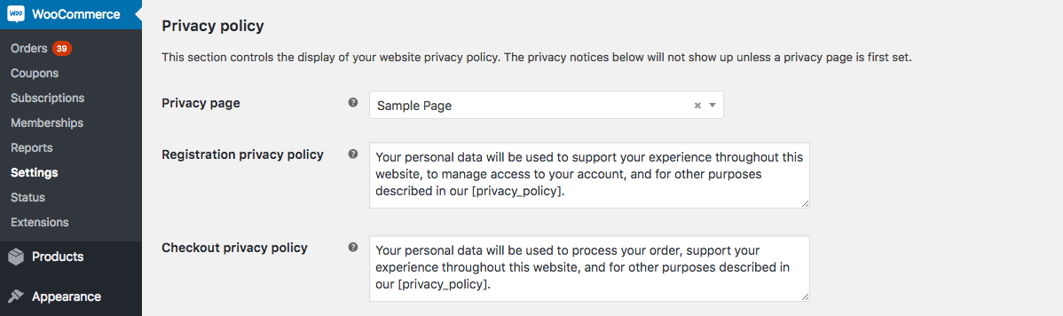 How to add Privacy Policy to WooCommerce checkout and change its text