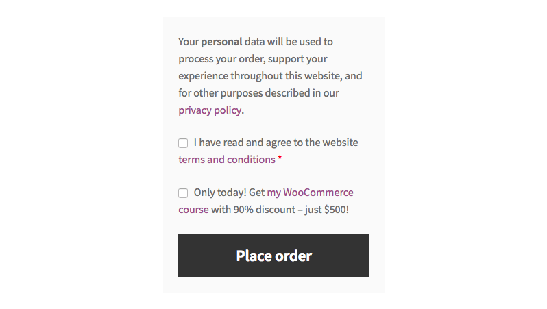 Upsell / cross sell checkbox in WooCommerce checkout
