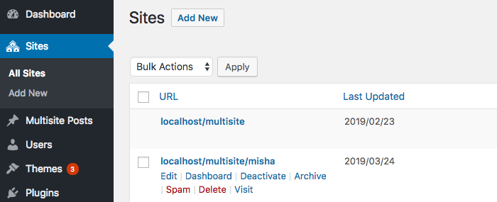 Row actions for sites within WordPress Multisite Network