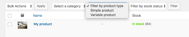 Product type dropdown with removed Downloadable and Virtual options