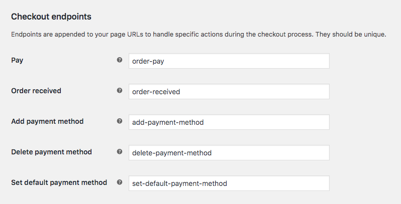 WooCommerce checkout page endpoints