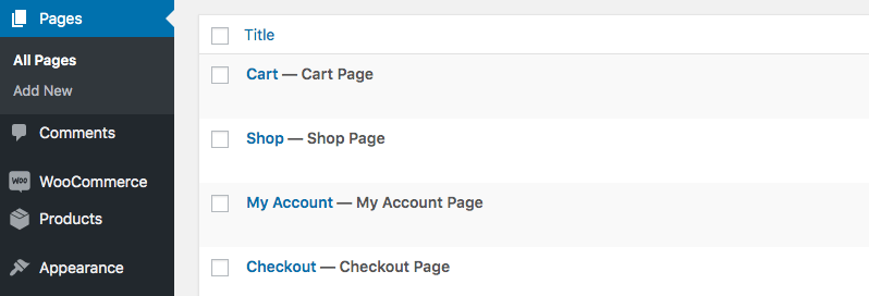The WooCommerce default pages – Cart, Checkout, Shop, My Account