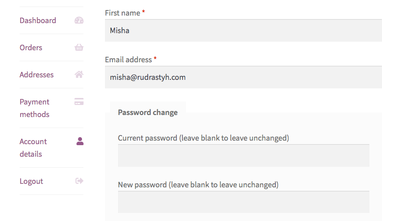 Remove WooCommerce my account default fields