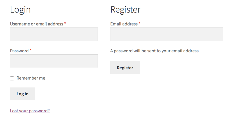 WooCommerce registration form