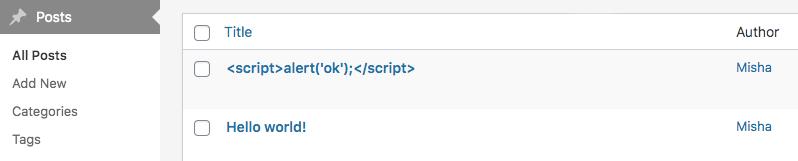 Escaped post titles in WordPress admin
