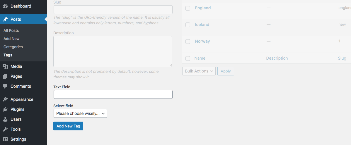 WordPress taxonomy settings fields