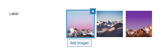 Gallery field with the possibility to select multiple images