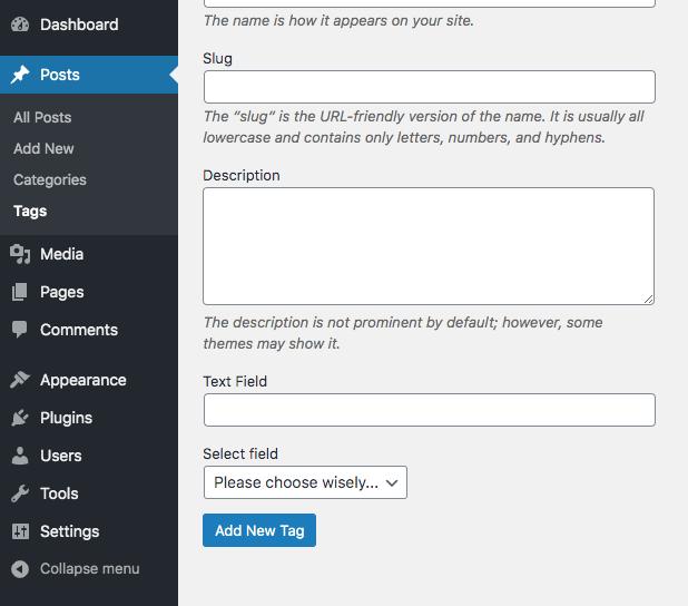 WordPress term taxonomy settings