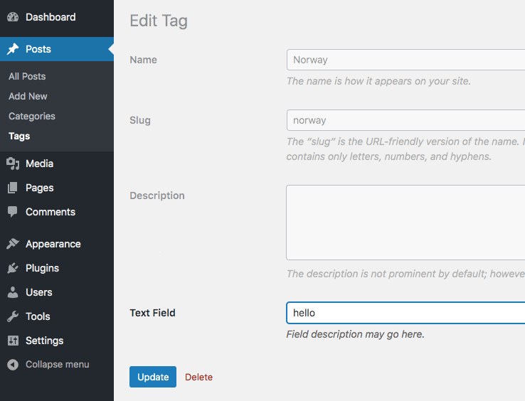 We added a custom text field and populated it with the data on edit term screen