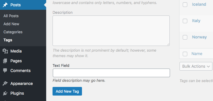 Simple text field on add new term screen in WordPress admin area