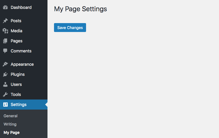 WordPress options page without fields