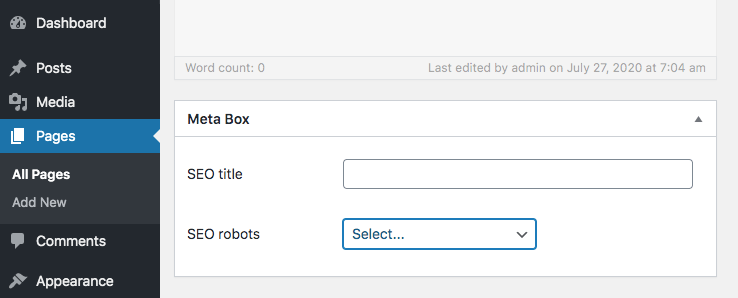WordPress meta box with multiple fields