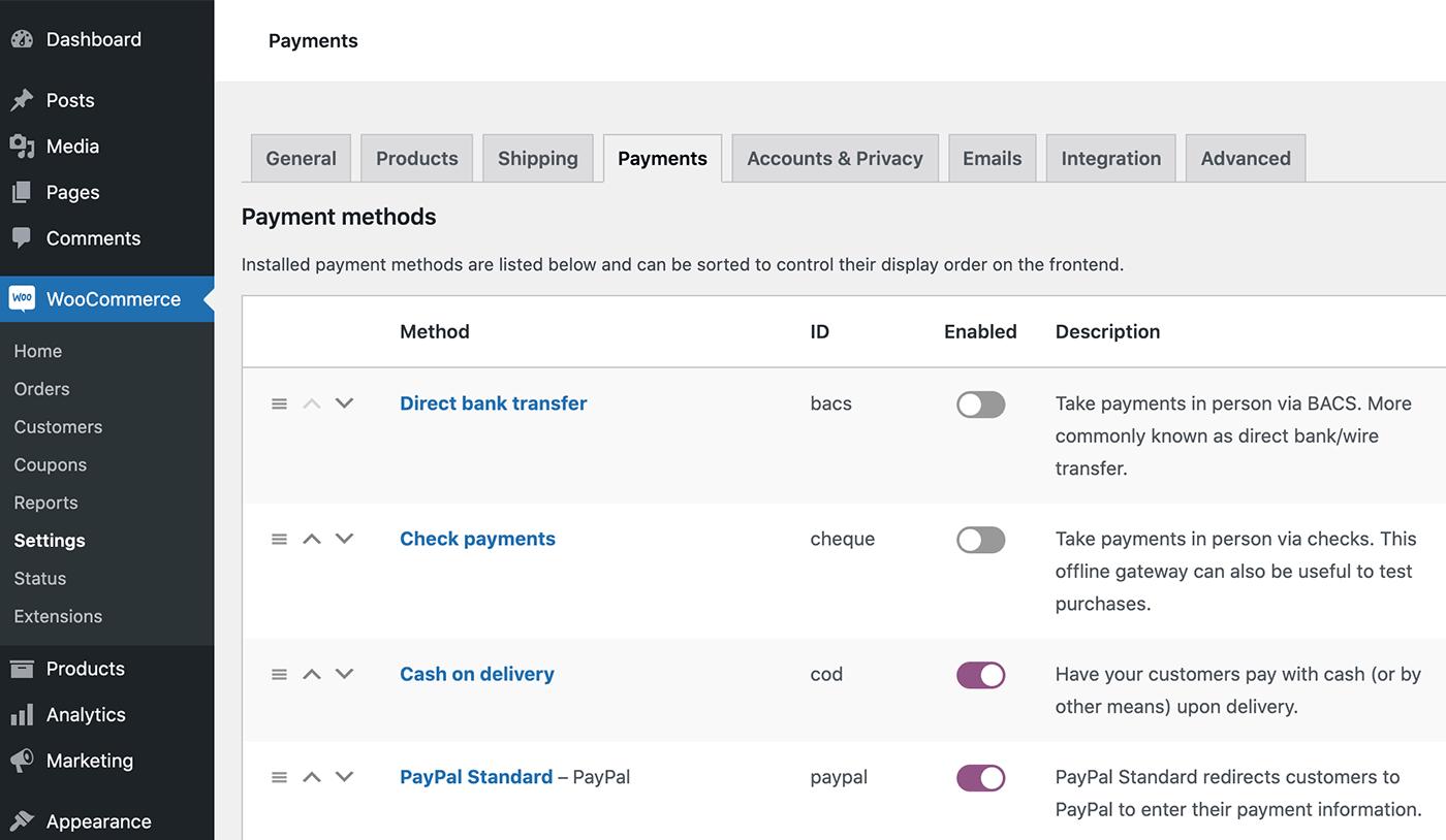 Payment method ID column