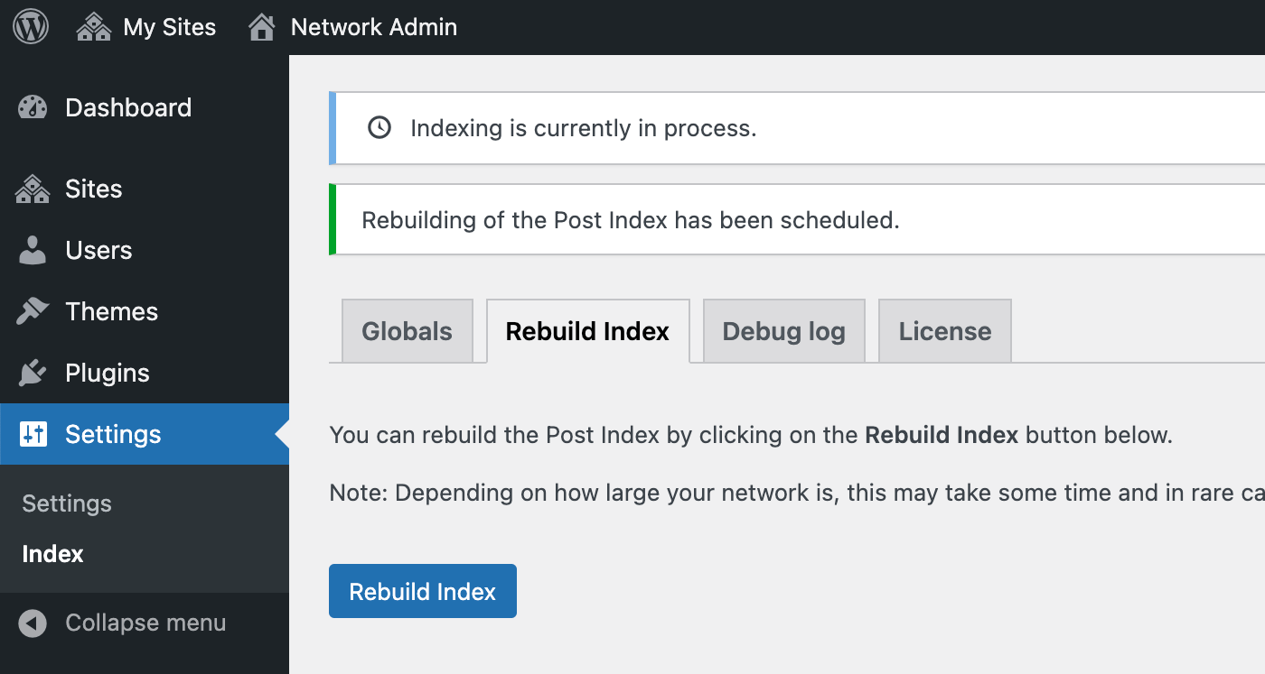 Go to the Rebuild Index tab if you want to add your old posts to the network index