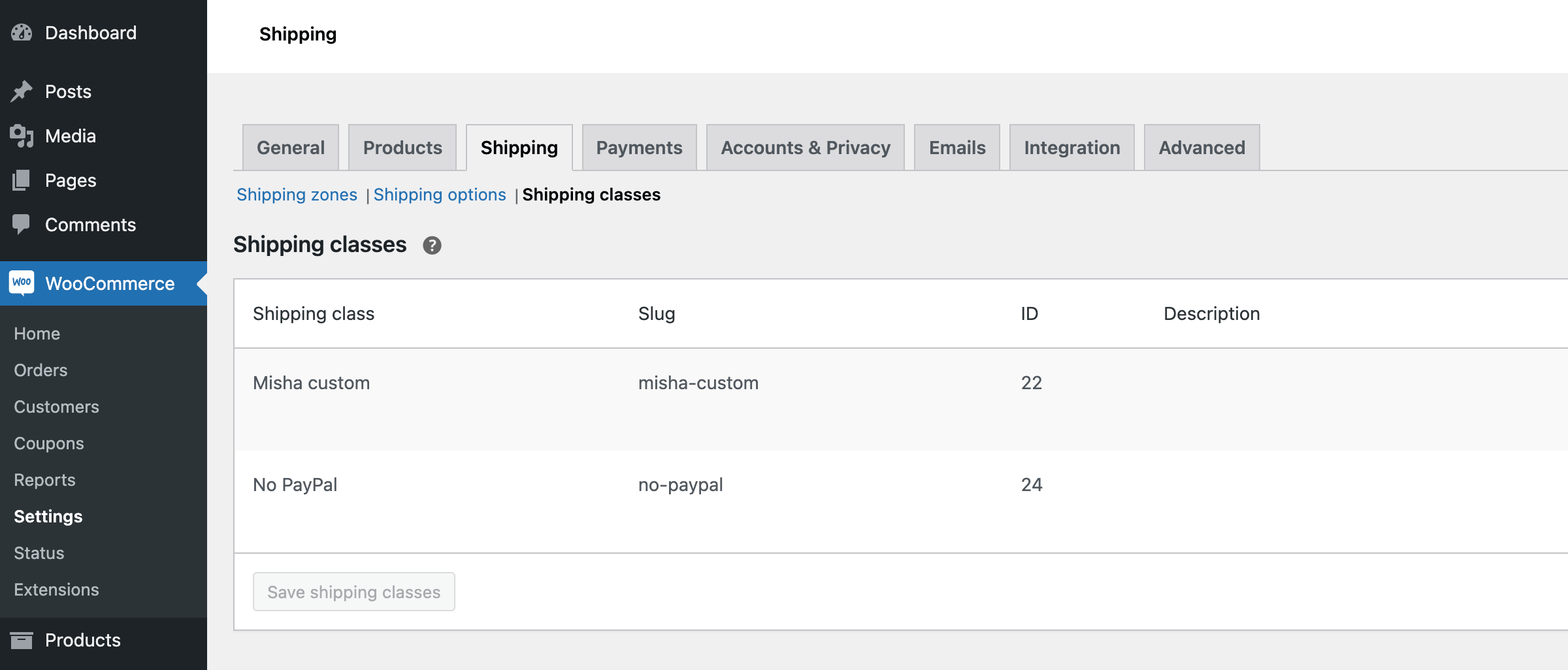how to add a shipping class ID column into WooCommerce settings